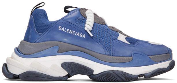 Balenciaga Blue and Grey Triple S Sneakers