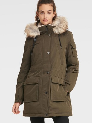 DKNY Women's Anorak With Faux Fur Hood - Loden - Size XS