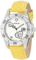 Invicta Women's 12511 Pro-Diver Silver Dial Crystal Accented Hearts Yellow Leather Watch
