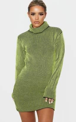 PrettyLittleThing Petite Neon Green Knitted Rib Long Sleeve Mini Dress