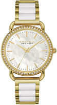 CARAVELLE, NEW YORK Caravelle New York Womens Crystal-Accent Two-Tone Bracelet Watch 44L172