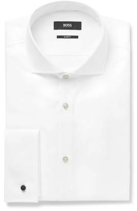 HUGO BOSS White Jaiden Slim-Fit Double-Cuff Cotton-Twill Shirt