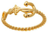 Lord & Taylor Goldtone Anchor Rope Ring