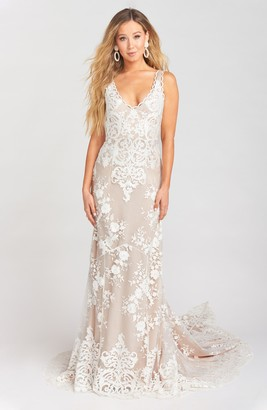 Show Me Your Mumu Contessa V-Neck Lace Wedding Dress