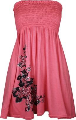 66 fashion Womens Sheering Boob Tube Gather Bandeau Top Summer Mini Dress Plus Size 8-24 UK (20-22