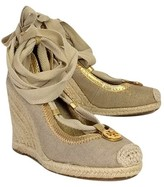 Tory Burch Gold Canvas Wedges
