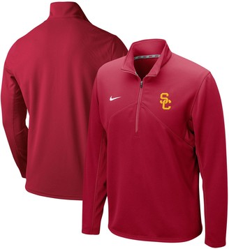 Nike Men's Crimson USC Trojans Primary Logo Training Performance Quarter-Zip Jacket