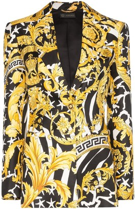 Versace Baroque-print single-breasted blazer
