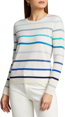 Majestic Filatures Ombre Stripe Crewneck Cashmere Sweater