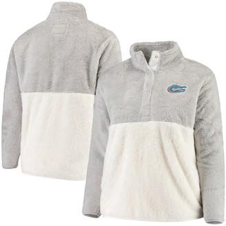Women's Gray/Cream Florida Gators Plus Size Fuzzy Fleece Colorblocked Four-Snap Pullover Jacket