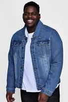 Boohoo Mens Big And Tall Overdyed Washed Denim Jacket