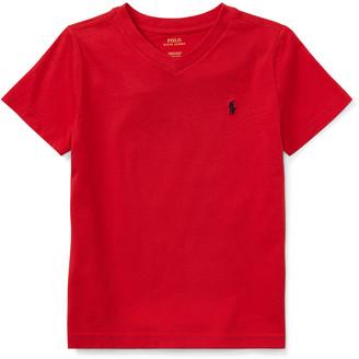 Ralph Lauren Kids Short-Sleeve Jersey V-Neck T-Shirt, Size 2-3