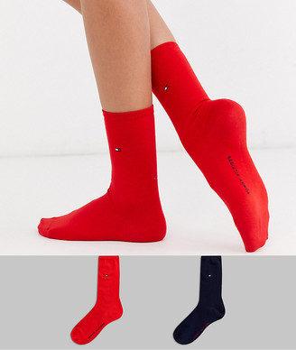 Tommy Hilfiger 2 pack casual sock with logo in red and navy