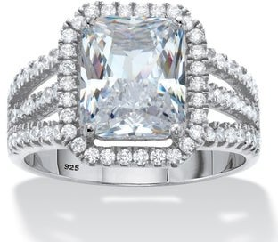 PalmBeach Jewelry Platinum over Sterling Silver Rectangular Shaped Halo Anniversary Ring Cubic Zirconia
