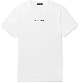 Dolce & Gabbana Slim-Fit Logo-Embroidered Cotton-Jersey T-Shirt - Men