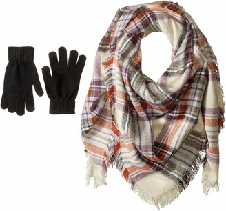 Steve Madden Women's Classic Plaid Square Blanket Wrap with Etouch Glove Set