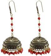 Silvestoo Jaipur Elegant Indian Saree Suit Jewellery-Big Jhumka Earring With Crystal Facetes Beads PG-104277