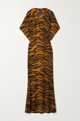 Norma Kamali Obie Tiger-print Stretch-jersey Maxi Dress - Camel