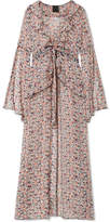 Anna Sui Scattered Flowers Ruffled Floral-print Silk-chiffon Robe - Pink