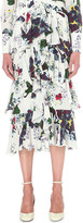 Erdem Tiered floral-print silk skirt