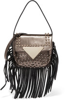 Sara Battaglia Metallic fringe-trimmed studded leather shoulder bag
