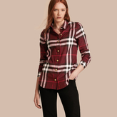 Burberry Fitted Cotton Flannel Military Check Shirt