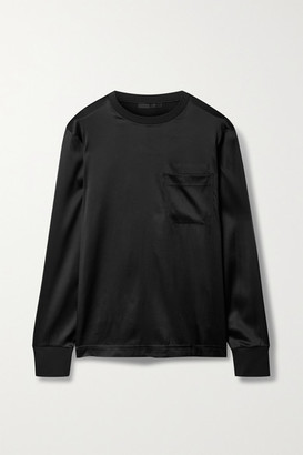 Helmut Lang Printed Stretch-silk Satin Sweatshirt - Black