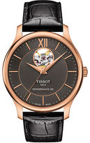 Tissot Tradition Powermatic 80 Open Heart Rose Goldtone Stainless Steel Leather Strap Watch