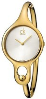 Calvin Klein Women's Gold-Tone Steel Bracelet & Case Quartz Silver-Tone Dial Analog Watch K1N22526