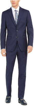 Tallia Men Slim-Fit Stretch Navy Blue Solid Suit