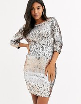 Little Mistress ombre sequin midi bodycon dress