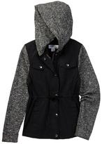 Coffee Shop Knit Contrast Rain Coat (Big Girls)