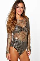 boohoo Petite Lisa All Over Lace Bodysuit gold