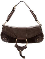Dolce & Gabbana Leather-Accented Embossed Suede Shoulder Bag