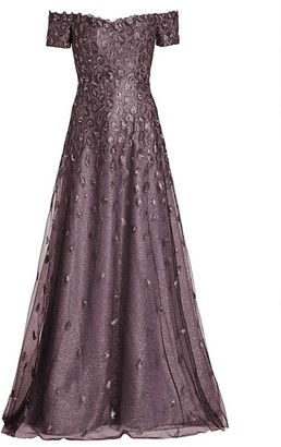 Rene Ruiz Collection Metallic Jacquard Off-the-Shoulder A-Line Gown