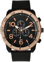 OLIVIA PRATT Olivia Pratt Mens Decorative Tachymeter Black Silicone Watch 13586Browngold