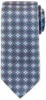 Eton Floral Square Foulard Silk Tie, Steel Blue