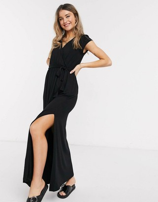 Asos Design DESIGN tie waist wrap front maxi dress in black