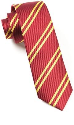 Tie Bar Double Stripe Burgundy Tie