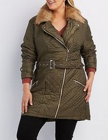 Charlotte Russe Plus Size Faux Fur-Trim Quilted Moto Jacket