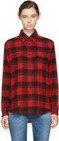 Saint Laurent Red and Black Oversized Checked Shirt
