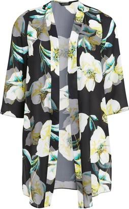 Evans Yellow Floral Print Kimono