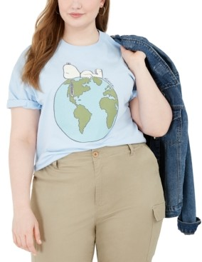 Love Tribe Trendy Plus Size Snoopy Earth Cotton Graphic T-Shirt
