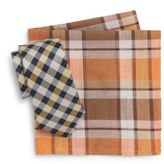 Original Penguin Onofre Checkered Tie & Plaid Pocket Square Set
