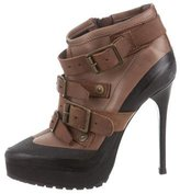 Burberry Leather Platform Ankle Boots