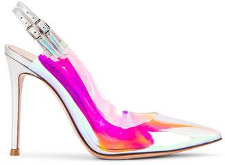 Gianvito Rossi Plexi & Laser Double Strap Heels in Hologram & Silver | FWRD
