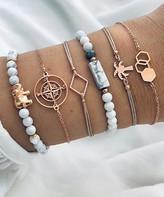 Don't Ask Don't AsK Women's Bracelets Gold, - White & Goldtone Compass & Elephant Bracelet Set