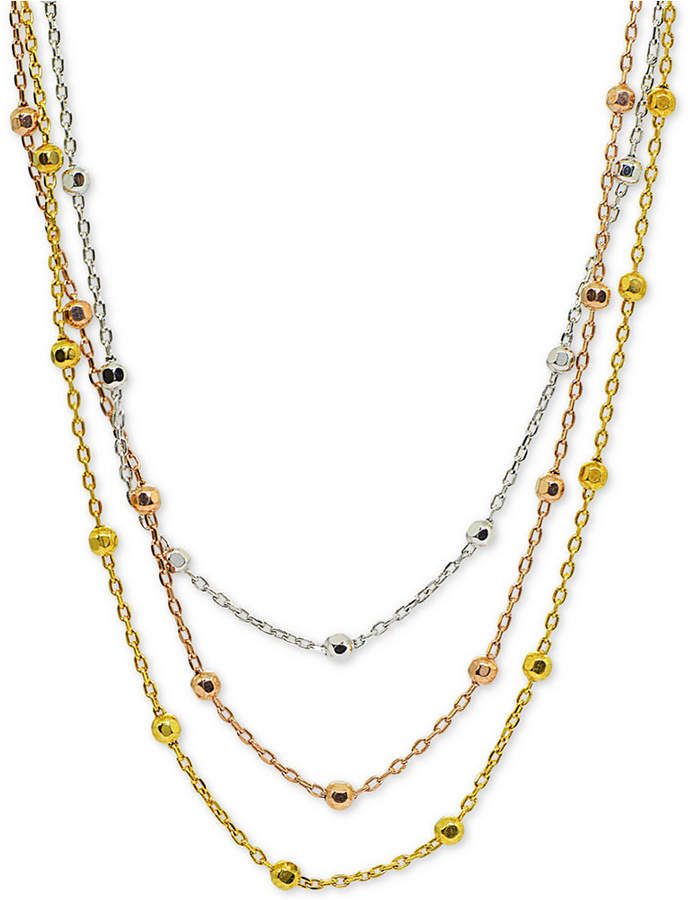 """Giani Bernini Tricolor Beaded 18"""" Multi-Layer Necklace in Sterling Silver, 18k Gold-Plate & 18k Rose Gold-Plate, Created for Macy's"""