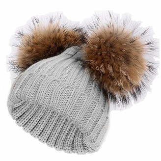 Feifanshop Women's Warm Winter Ribbed Knit Crochet Faux Fur Double Pom Pom Ball Bobble Hat Double Pom Pom Beanie (Grey)(Size: One Size)