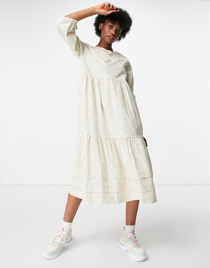Thumbnail for your product : Monki Vira midi smock dress in cream polka print